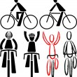 Bicyclist - signs and silhouettes — Stock Vector