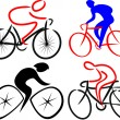 Cyclist, bicyclist - silhouettes — Stock Vector