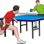 Постер, плакат: Two players play table tennis