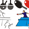 Table tennis - equipment and sihouette — Vecteur #16890249