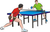Two players play table tennis — Stock Vector