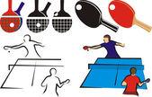 Tenis de mesa - equipos y sihouette — Vector de stock