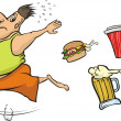 Fat man runs away from unhealthy food — Stock Vector