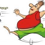 Fat man chasing a mug of beer — Stock Vector #17372893
