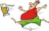 Fat man chasing a mug of beer — Stock Vector