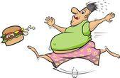 Fat man chasing a hamburger — Stock Vector
