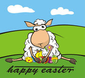 Happy easter - lamb and chick — Wektor stockowy