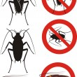 Cockroach - warning signs — Stock Vector