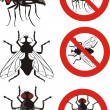 Housefly - warning signs — Stock Vector #19398881