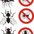 Stock Vector: Housefly - warning signs
