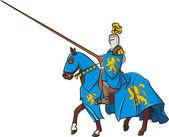 Medieval knight rider — Stock Vector