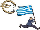 Sinking eurozone - cypriot and greece crisis — Stock Vector