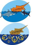 Sinking cyprus and sharks and euro — Stock Vector