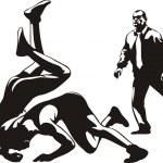 Постер, плакат: Wrestling fight and referee