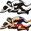 Fighting wrestlers — Stock Vector