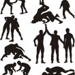 Wrestling silhouettes — Stock Vector #24184251