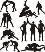 Wrestling silhouettes — Stock Vector