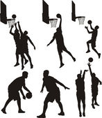 Basketball players - silhouette — ストックベクタ