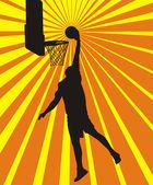 Basketball center in action — Stock Vector