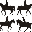 Girl on horseback - silhouettes — Stock Vector #35229621