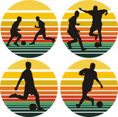 Soccer silhouettes - background — Stock Vector