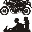 Couple on motorcycle — Stock Vector #36282089