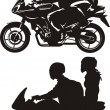 Stock Vector: Couple on motorcycle
