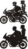 Couple on motorcycle — Stock Vector