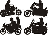 Bikers, motorcyclist - silhouettes — Stock Vector