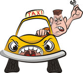 Taxi driver - road rage — Vector de stock