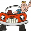 Crazy driver - aggresion on road — Vector de stock #41599671