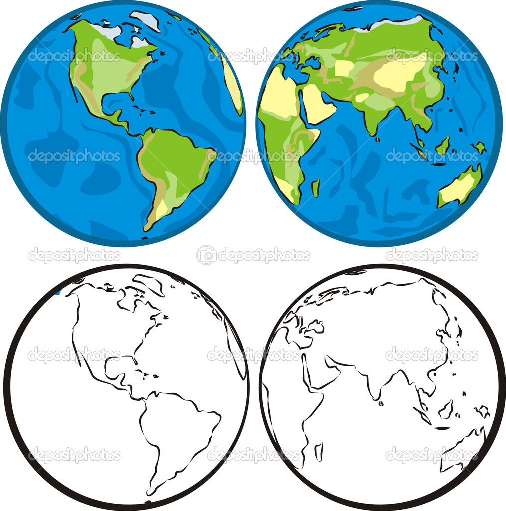 Earth hemispheres — Stock Vector © ciuciumama #5829566