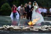 Eternal flame in memory of Panfilov Division — Stock Photo