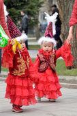 Kazakh children in national clothes — Stock Photo