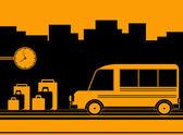 Otobüs istasyonu ile arka plan — Stok Vektör