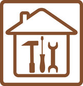 Repair symbol with tools and house silhouette — Stock Vector