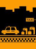 Parada de taxis con paisaje urbano — Vector de stock