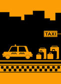 Taxi stop with urban landscape — Stock Vector