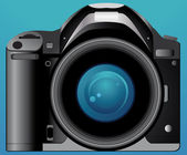 Photo camera on blue background — Stock vektor