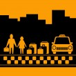 Transport background with family, luggage and taxi cab — Stock Vector