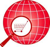 Carrito de compras muestra en lupa en planeta — Vector de stock