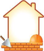 ícone com capacete, espátula, tijolos e casa — Vetorial Stock