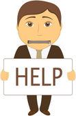 Człowiek z jamy ustnej, zamykane na zamek prosi o pomoc — Wektor stockowy