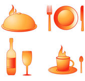 Set utensil with hot dish, cup, bottle, glass, fork, plate, spoon, knife — Stock Vector