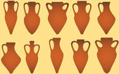 Set isolated antique amphora — Stock Vector
