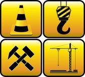 Nastavit znaménko žlutý stavební — Stock vektor