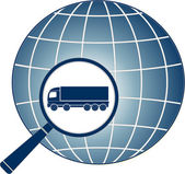 Delivery symbol with magnifier, lorry and planet — Stok Vektör