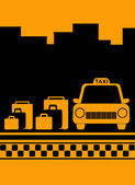 Cab background with bag, city and taxi symbol — Stock Vector