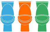 Set of isolated colorful toilet — Vector de stock