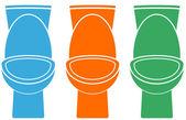 Verzameling van geïsoleerde kleurrijke toilet — Stockvector